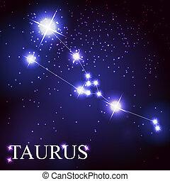 beau, étoiles, ciel, cosmique, taureau, signe, clair, ...