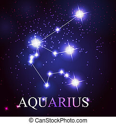 beau, étoiles, ciel, verseau, cosmique, signe, clair, ...