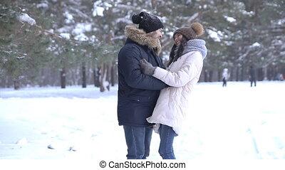 beau, étreinte, hiver, couple, jeune, forêt