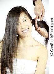 beau, être, peigné, longs cheveux, asiatique