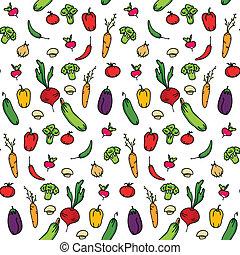 beau, être, vecteur, tissu, vegetables., envoyer à la casse, impression, seamless, texture, booking., arrière-plan., papier, utilisé, boîte, fond, illustration., interminable, sur, ou, cuisine
