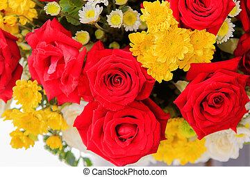 beau, 14 février, bouquet, valentin, roses, intérieur, décoré, fleurs, jour, rouges