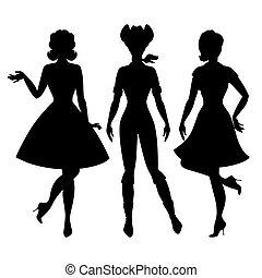 beau, 1950s, épingle, filles, haut, silhouettes, style.