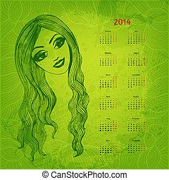 beau, 2014, chevelu, main, vecteur, année, dessiné,...