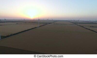beau, aérien, énergie, moteurs, sources, enquête, vent, renouvelable, lames, paysage, sunset.