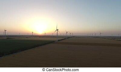 beau, aérien, énergie, pinwheels, sources, enquête, vent, renouvelable, paysage, sunset.