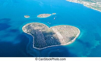 beau, aérien, amour, canal, aussi, galesnjak, croatie, île, forme coeur, pasman, appelé, vue
