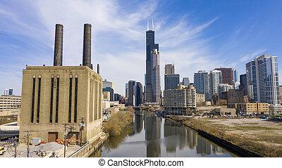 beau, aérien, chicago, clair, illinois, horizon, jour, vue