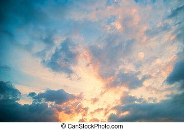 beau, aérien, heaven., clouds., coucher soleil, vue