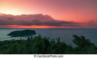 beau, aérien, scénique, timelapse, 4k, île, pendant, vue, sunset.