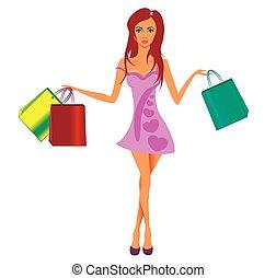 beau, achats, longs cheveux, rose, girl, robe