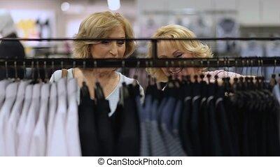 beau, achats, personnes agées, branché, femmes, vêtements