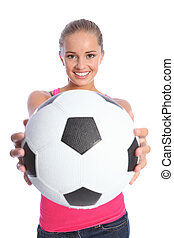 beau, adolescent, balle, sourire, football, girl
