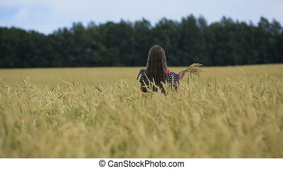beau, adolescent, blé, jeune, field., girl, oreilles