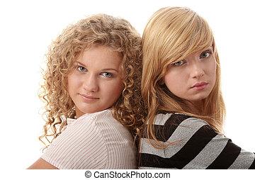 beau, adolescent, blonds, deux, petites amies