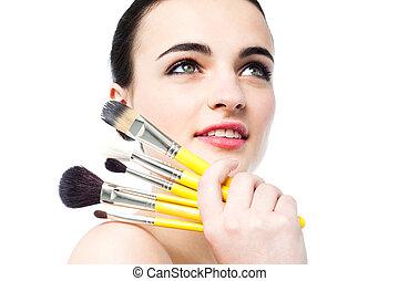 beau, adolescent, brosses maquillage, tenue, girl