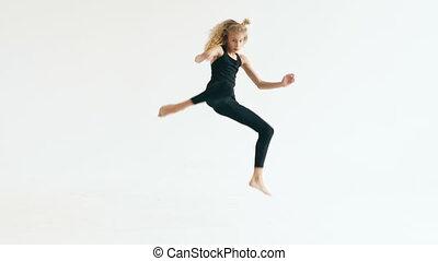 beau, adolescent, danse lente, danseur, contemporain, mouvement, intérieur, fond, girl, blanc