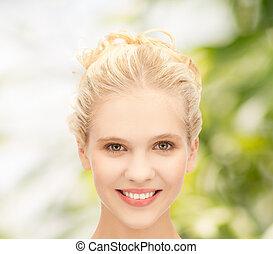 beau, adolescent, fille souriante, figure