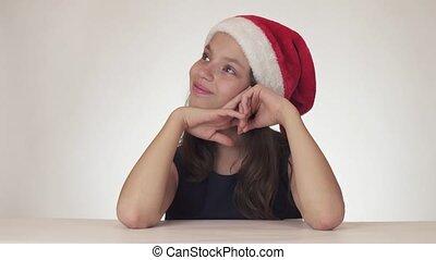 beau, adolescent, fond, fête, heureux, métrage, claus, cadeau, vidéo, santa, reçoit, gâteau, expresses, girl, mécontentement, chapeau, blanc, rêves, stockage