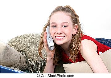beau, adolescent, téléphone