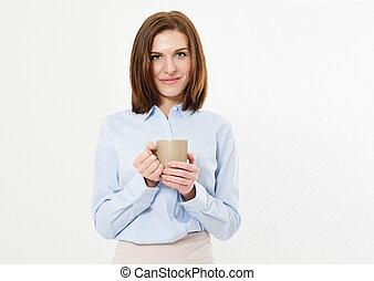 beau, affaires modernes, grande tasse, boisson, -, jeune, chaud, femme, brunette, tenue, girl