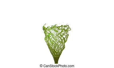 beau, aimer, whirl., liquide coloré, tornado., isolé, matte., 1, jus, vortex, animation, vert, version, alpha, tourbillon, transparent, 3d