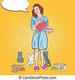 beau, alimentation, art, elle, cats., chouchou, illustration, femme, vecteur, pop, care.