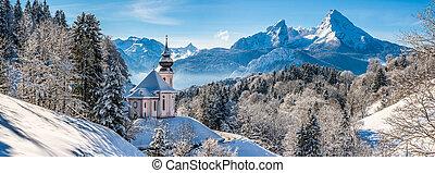 beau, alpes, hiver, célèbre, bavière, watzmann, bavarois,...