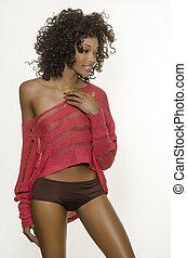 beau, américain, modèle, africaine