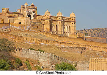 beau, ambre, ville, jaipur, india., rajasthan, fort