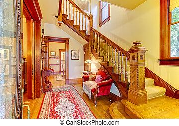 beau, amecian, vieux, maison, entrée, à, bois, staircase.