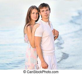 beau, amour été, couple, jeune, portrait