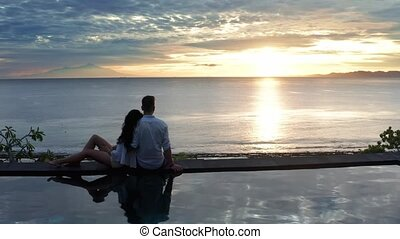 beau, amour été, gens, vacation., lune miel, mer, aérien,...