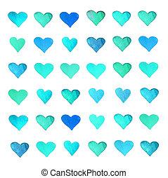 beau, amour, coloré, isoler, aquarelle, amusement, cœurs,...