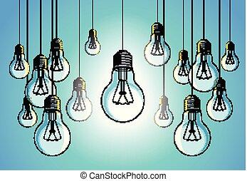 beau, ampoules, foule, différent, concept, lumière, briller, idée, illustration, une, unique, vecteur, stand, créatif, penser, inspiration., dehors