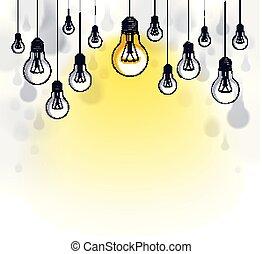 beau, ampoules, penser, espace copy, concept, lumière, différent, text., idée, illustration, une, unique, foule, vecteur, stand, briller, créatif, composition, inspiration., dehors