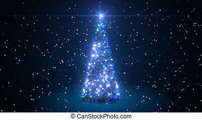 beau, animation., colors., année, bleu, heureux, concept., particules, bokeh, animation, barbouillage, nouveau, noël, 3d, créer, 3840x2160, joyeux, hd, arbre, 4k, ultra, defocused