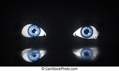 beau, animation, eyes., femme, vidéo
