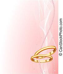 beau, anneaux, fond, mariage