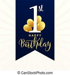 beau, anniversaire, conception, carte, premier