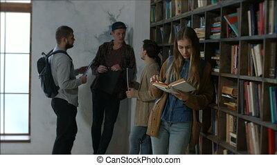beau, apprentissage, femme, bibliothèque, étudiant