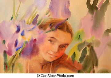 beau, aquarelle, girl, fleurs, portrait