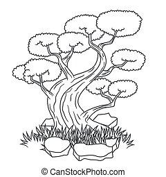 beau, arbre bonzaies, tatouage