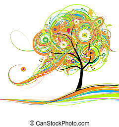 beau, arbre, conception, art, ton