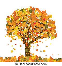 beau, arbre, eps, automne, 8, ton, design.