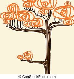beau, arbre, illustration, automne, vecteur, ton, design.
