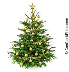 beau, arbre noël, à, or, babioles