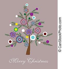 beau, arbre, noël carte, illustration.