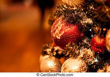 beau, arbre noël, décoré