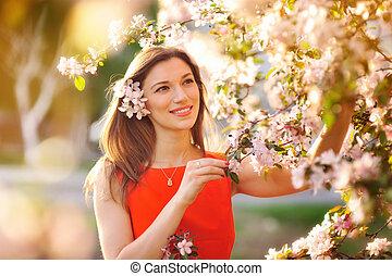beau, arbre, parc, jeune, fleurir, girl